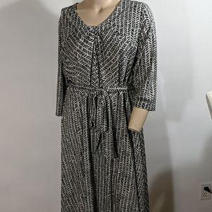 Women's Lands' End Black White Dress Size 2X